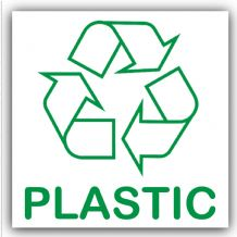1 x Plastic Recycling Bin Adhesive Sticker-Recycle Logo Sign-Environment Label